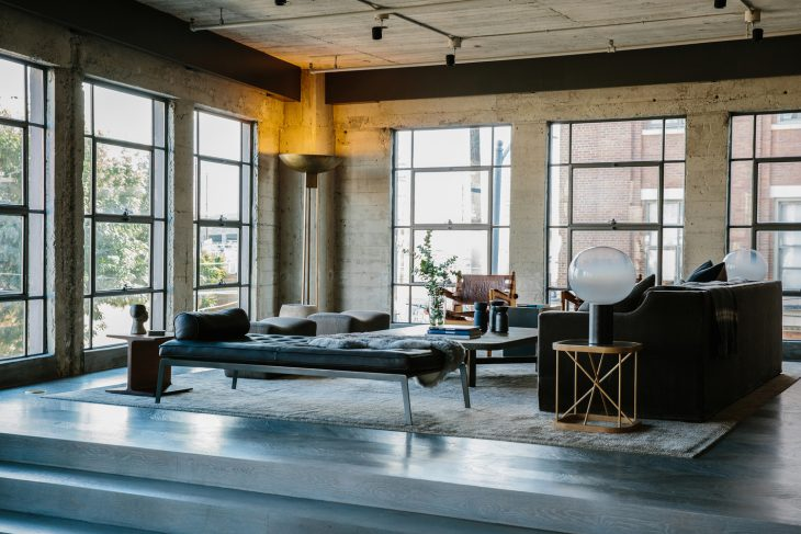 The Arts District Loft is an alteration of a 2,000-square-foot condominium loft in the Toy Factory L