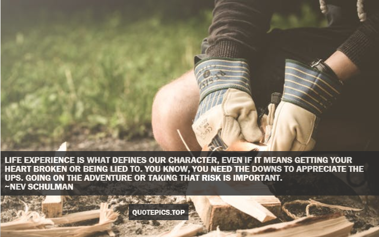 Life experience is what defines our character, even if it means getting your heart broken or being lied to. You know, you need the downs to appreciate the ups. Going on the adventure or taking that risk is important. ~Nev Schulman