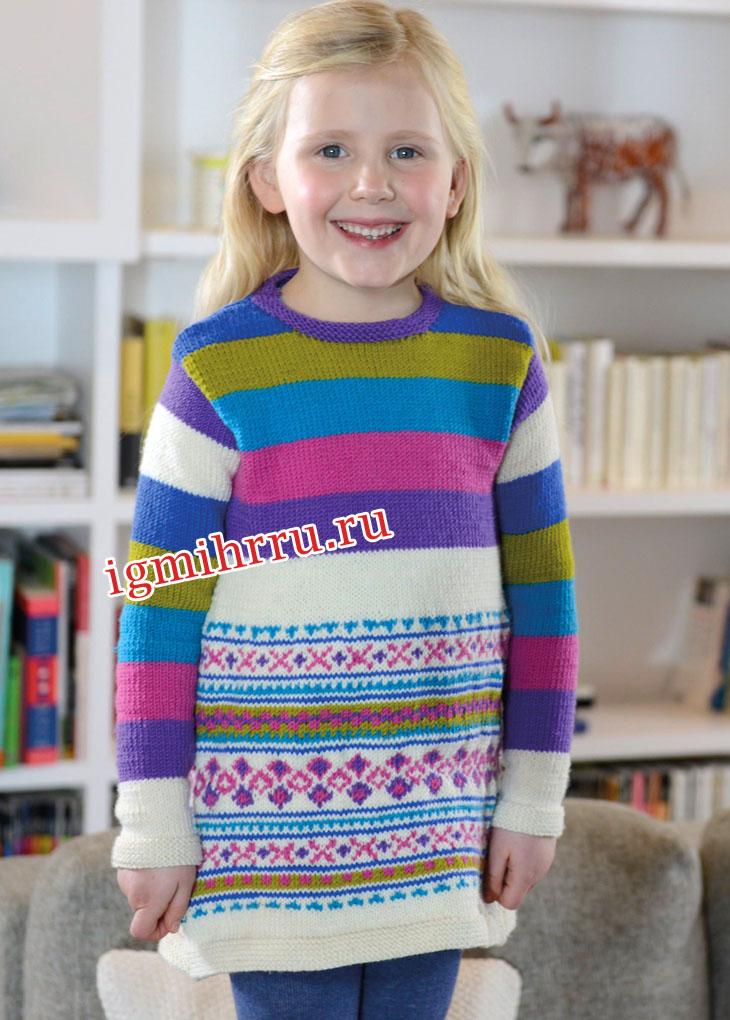 Для девочки 2-10 лет. Платье с жаккардовыми узорами и полосками. Вязание спицами