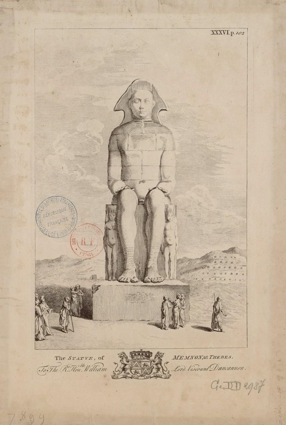 Статуя Мемнона в Фивах (вид спереди)