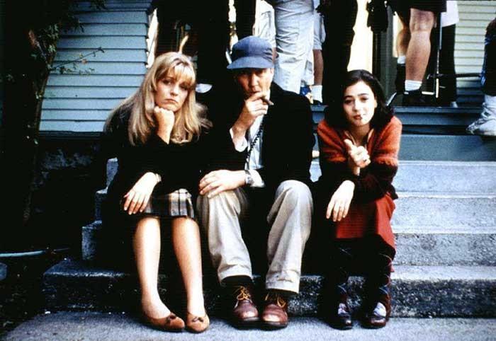 Шерил Ли, Дэвид Линч и Мойра Келли на съемках «Твин Пикс: Сквозь огонь».