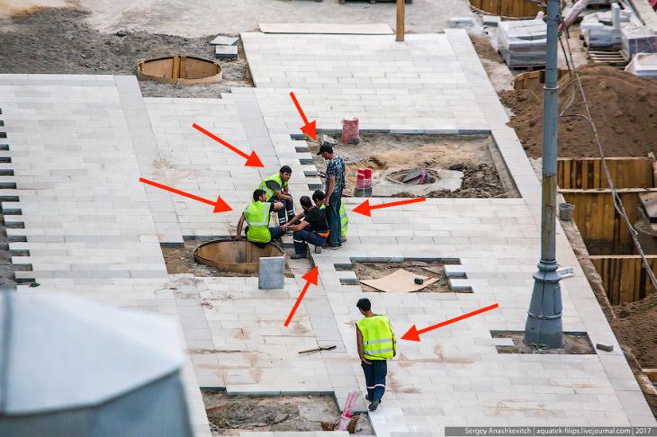 Как работают на стройке-реконструкции Садового кольца (20 фото)