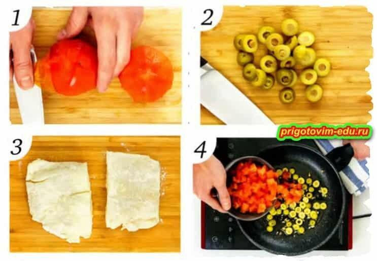 Рыба с помидорами и оливками.