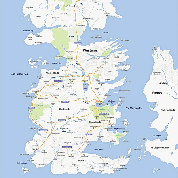 Game of Thrones – When the continent of Westeros meets Google Maps (8 pics)