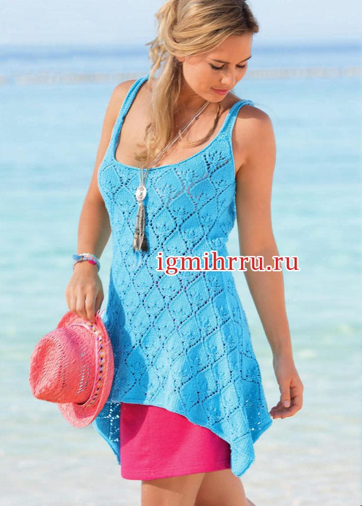 Голубая летняя туника на бретелях. Вязание спицами