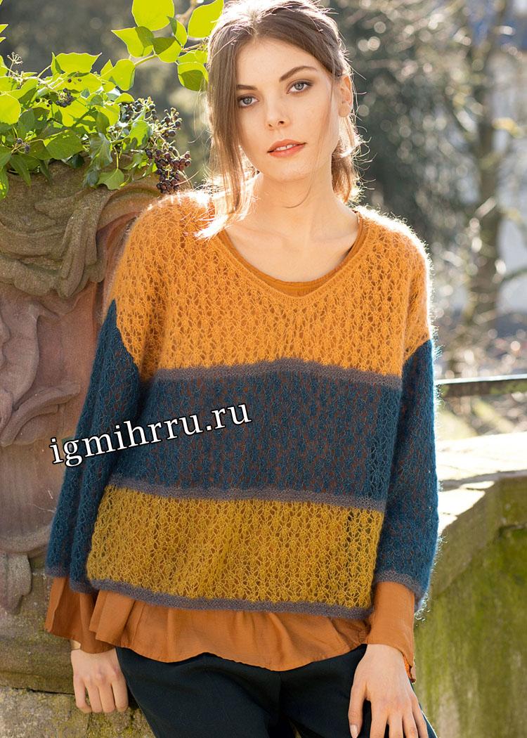 Ажурный мохеровый пуловер с широкими цветными полосами. Вязание спицами
