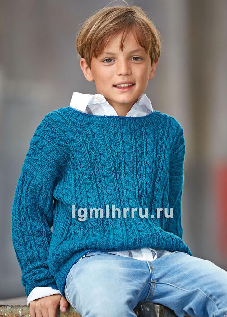 Для мальчика 9-12 лет. Бирюзовый шерстяной пуловер с косами. Вязание спицами