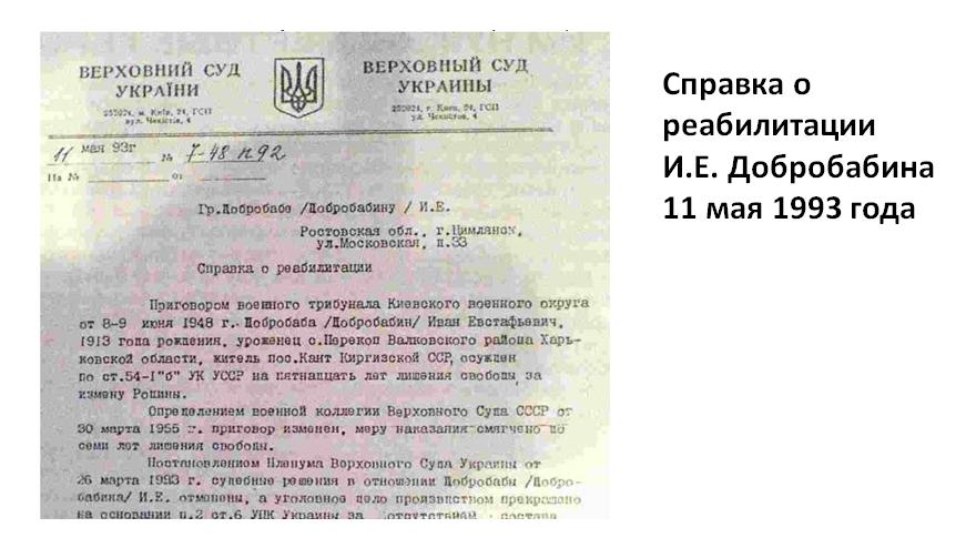 Слайд 16. Справка о реабилитации И.Е. Добробабина 11 мая 1993 года