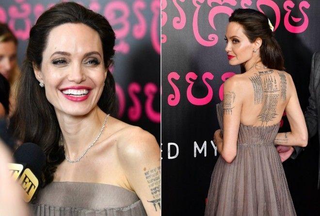 Джоли в шикарном платье показала татуировки на спине: вот, что они значат (7 фото)