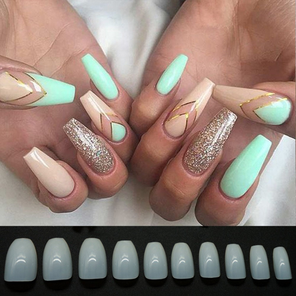 500pcs Fashion Fake Nails Press On french Cover Full Tips Art ...