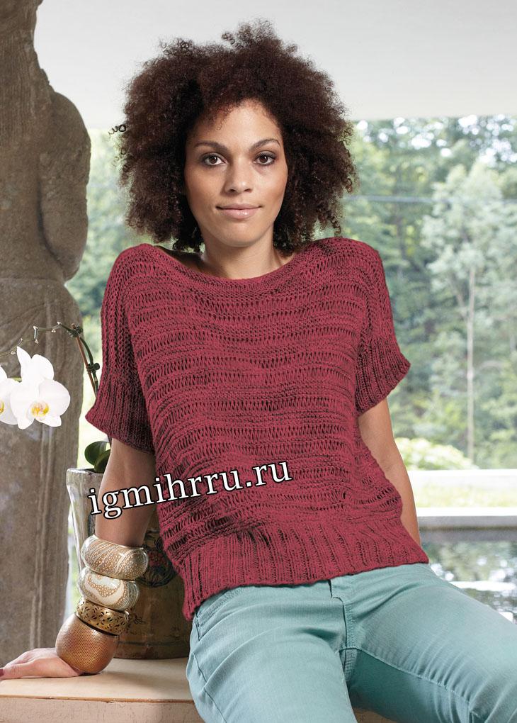Темно-красный пуловер с вытянутыми петлями. Вязание спицами