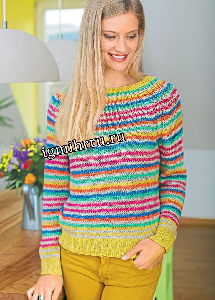 Для любителей нукинга: пуловер с разноцветными полосками. Вязание крючком