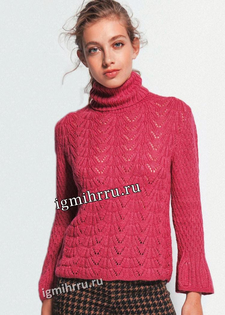 Темно-розовый свитер с фантазийными узорами. Вязание спицами