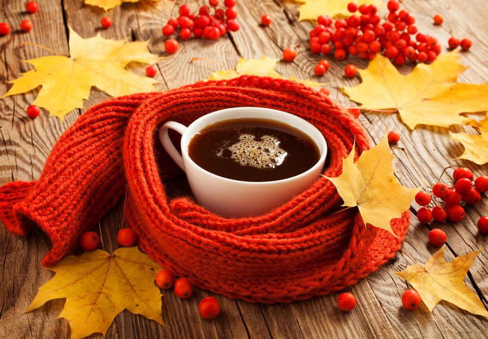Открытки осень чай