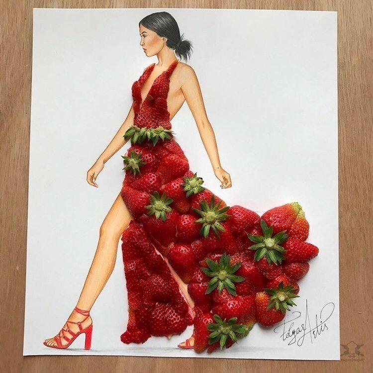 0 17e85a 35061a27 XL - Эскизы платьев в сочетании с едой и др. предметами