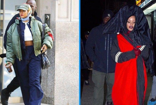 Поклонники в шоке: Рианна продолжает удивлять папарацци необычными нарядами (15 фото)