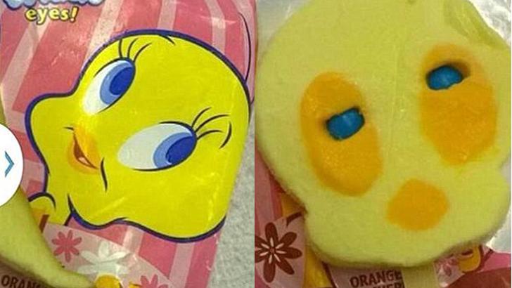 Мультяшный персонаж Твити Пай великолепно выглядит на упаковке мороженого, но уже не так свежо и бод