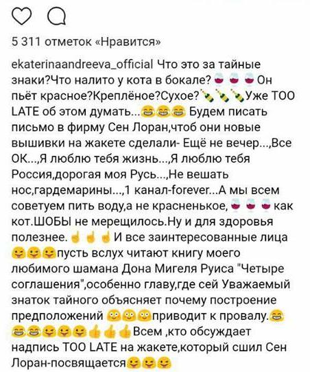 Телеведущая дополнила текст рядом длинных хештегов: «#ялюблюсвоюработу #я #кот #вино #cat #me #wine