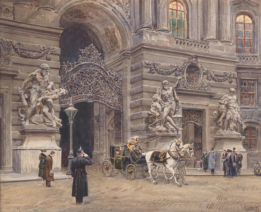 Ной (новый) Хофбург Император покидает дворец , 1914.