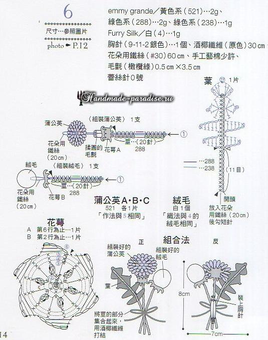 Миниатюрные букетики с хризантемами крючком (7)