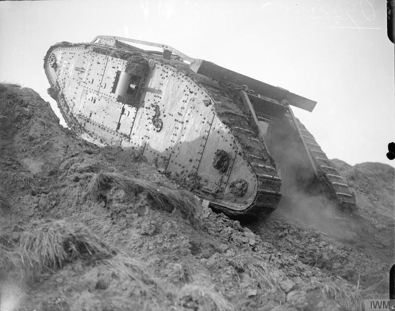 Tank F4 climbing a slope at the Tank Driving School during the special training for the Battle of Cambrai at Wailly, 21 October 1917.