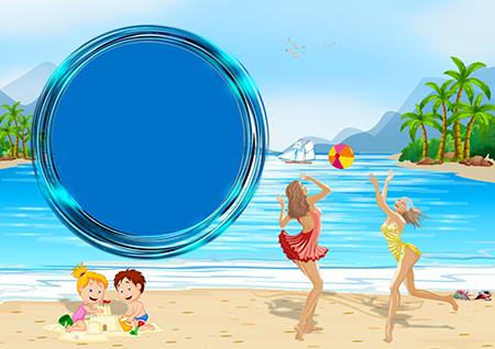 Рамка для фото с играющими в мяч двумя девушками на пляже и детишками с домиком из песка