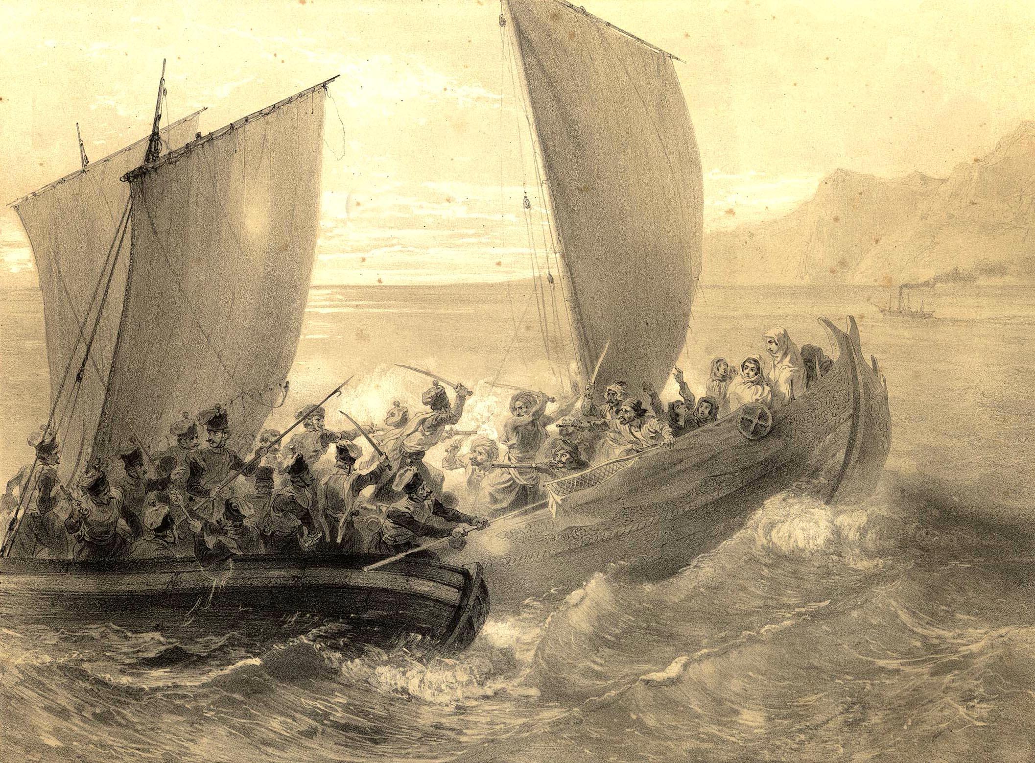 1. Cotes de la Mer Noire. Cosaques d'Azof abordant un corsaire Turc. / Берег Черного моря. Азовские казаки берут на абордаж турецкий корсар