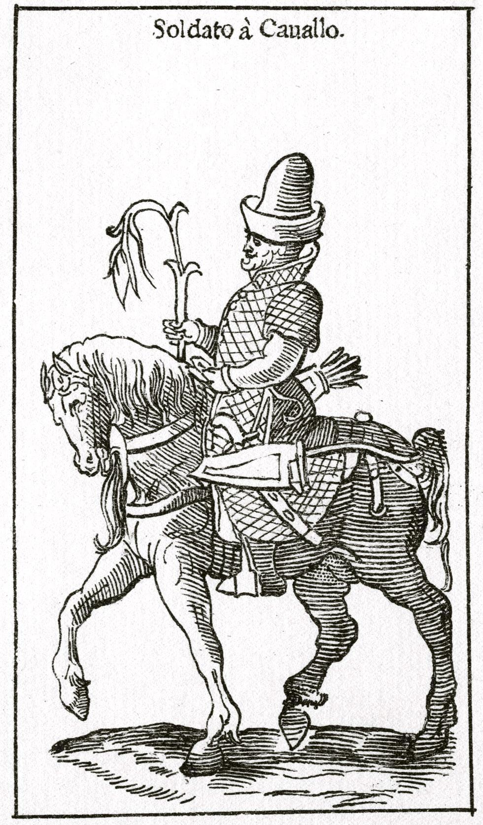 143. Рыцарь московитов (стрелец). Гравюра из книги Чезаре Вечеллио, 1598