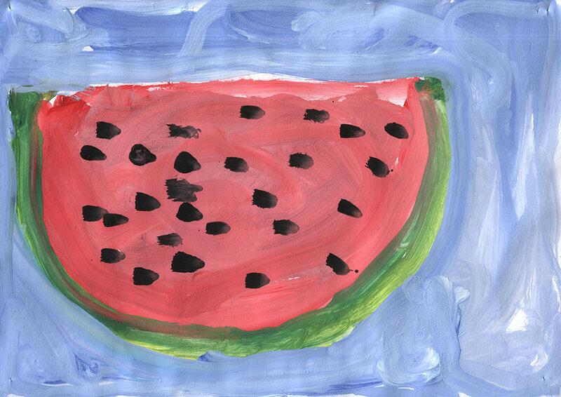 детский рисунок арбуза