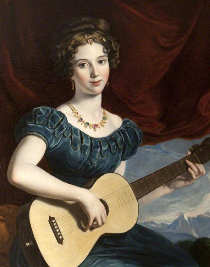 A Lady of the Petre Family playing the guitar.jpg