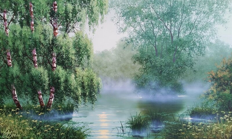 Утро на озере ...