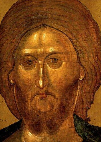 Лик Спасителя. Фрагмент византийской иконы XIV века в монастыре Ватопед на Святой Горе Афон.