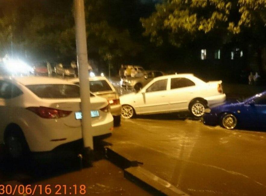 Flooding washed away cars