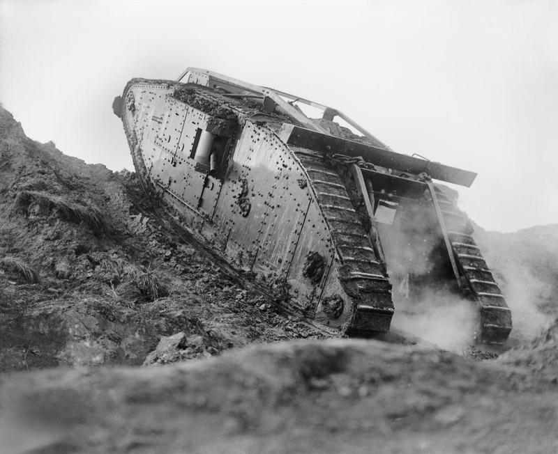 Tank F4 ascending a slope at the Tank Driving School during the special training for the Battle of Cambrai at Wailly, 21 October 1917.