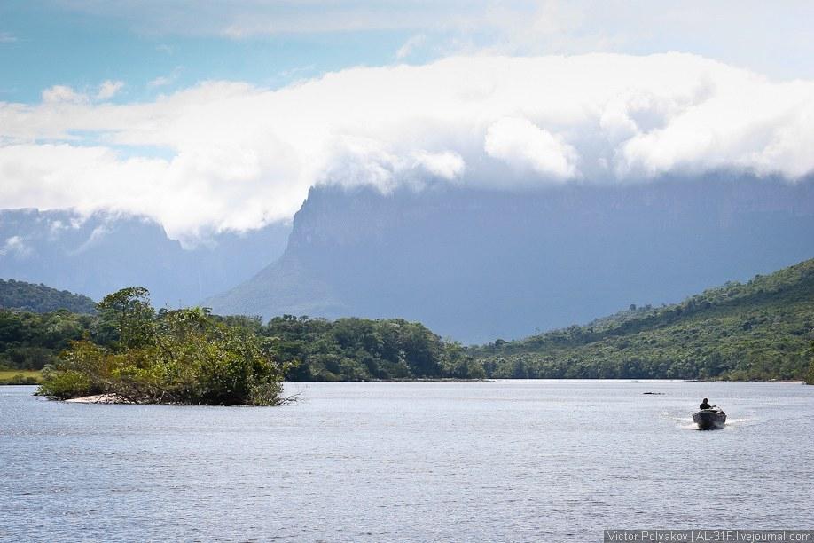Лодка с мотором идет по реке очень быстро, разбрасывая по сторонам миллионы брызг, которые в св