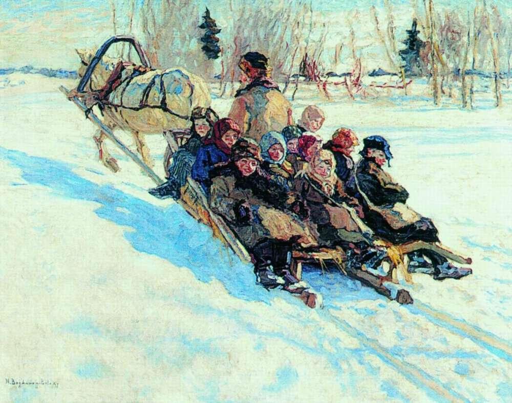 Николай Петрович Богданов-Бельский (1868-1945)В школу. 1941 Рига.jpg