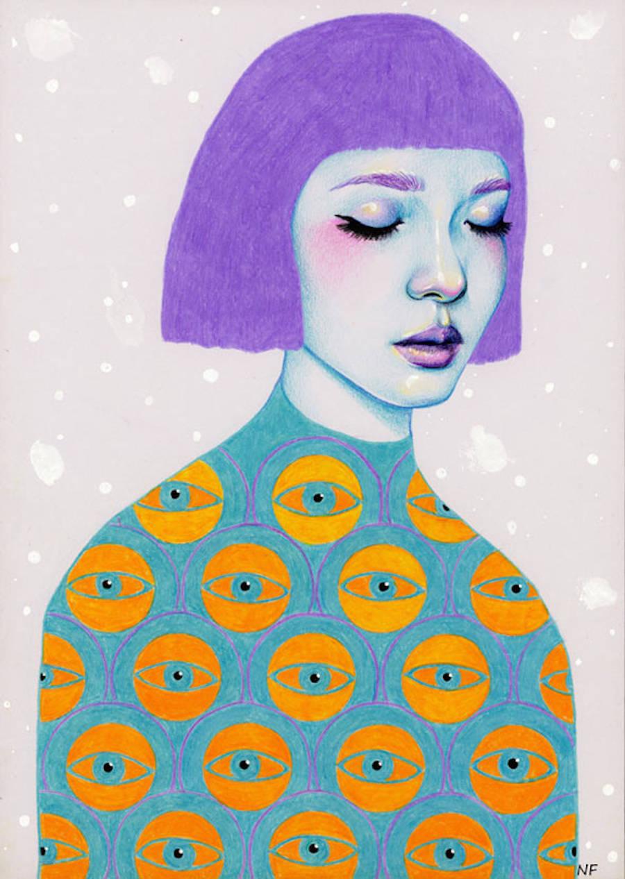 Hypnotic Aliens Pencil Illustrations