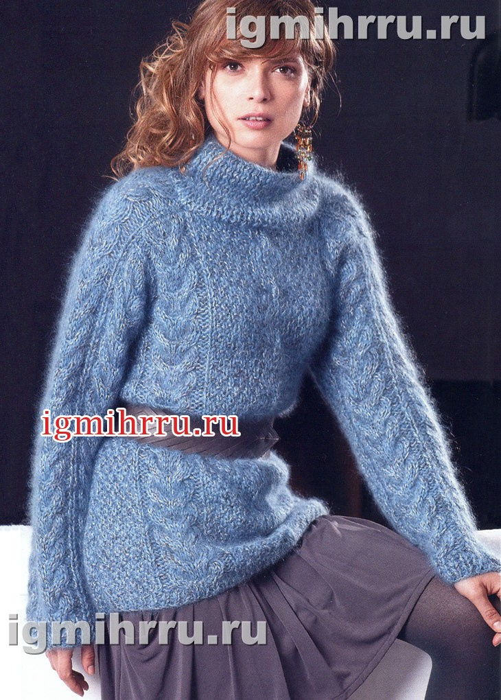 Голубой меланжевый свитер с косами. Вязание спицами