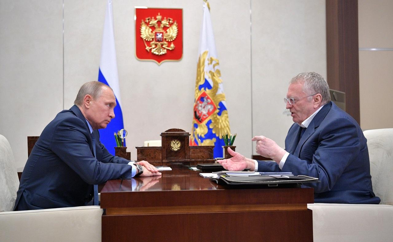 Встреча В. Путина с лидером партии ЛДПР Владимиром Жириновским 5 июля, 2017, Ново-Огарёво(1)