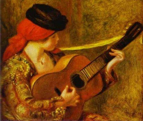 Огюст Ренуар. Молодая испанская женщина с гитарой