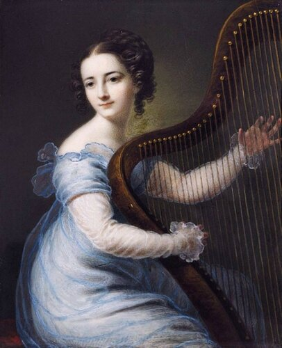 Karl Gottlob Schmeidler (German, 1772-1838) Dorette Spohr, née Scheidler, playing the Harp.