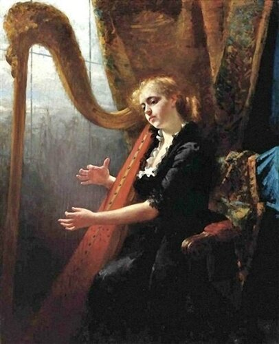 Thérèse Schwartze (Dutch, 1851-1918) Playing the Harp. 1918
