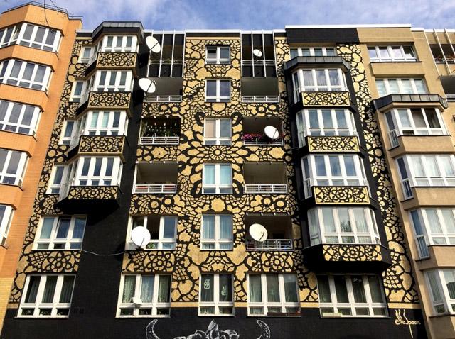 Варшава искусство кружева стрит-арт художница