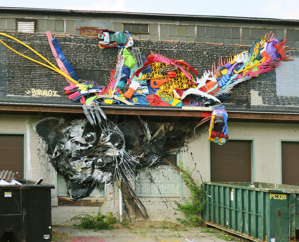 New Split-View Trash Sculptures by Bordalo II Combine Wood and Colorful Plastics Into Gigantic Animals