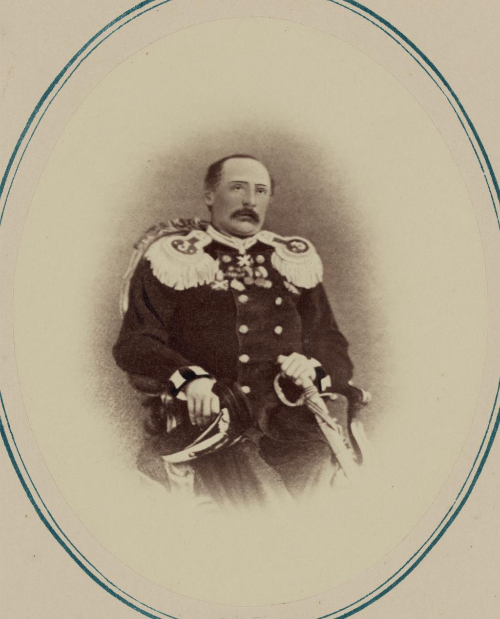 Георгиевские кавалеры и награжденные золотым оружием. За взятие укрепления Джизак 18 октября 1866 г. Майор армейской пехоты барон фон Ю. Н. Рене