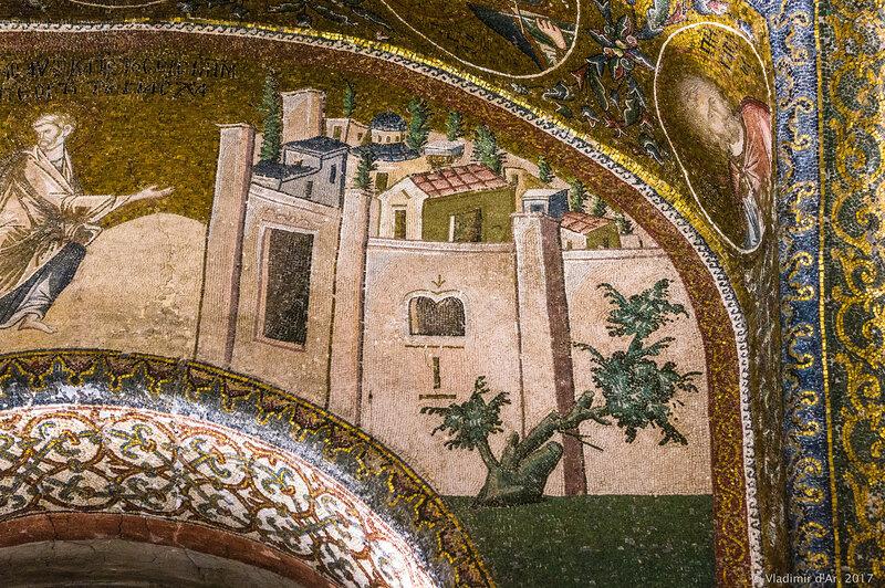 Святое семейство на пути в Иерусалим. Мозаики и фрески монастыря Хора. Церковь Христа Спасителя в Полях.