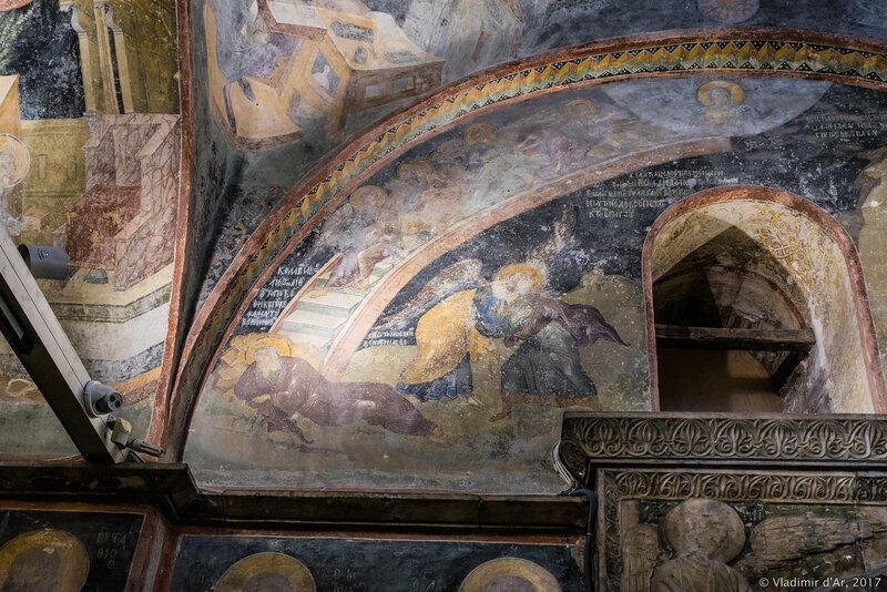 Иаков, борющийся с ангелом. Мозаики и фрески монастыря Хора. Церковь Христа Спасителя в Полях.