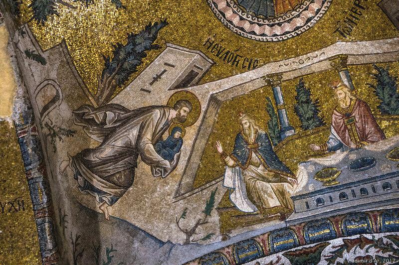 Благословление Марии первосвященниками. Мозаики и фрески монастыря Хора. Церковь Христа Спасителя в Полях.