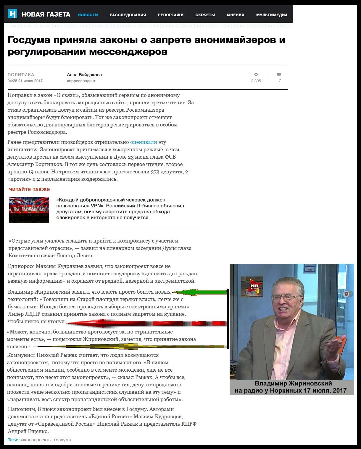 Запрет Думой анонимайзеров и Жириновский
