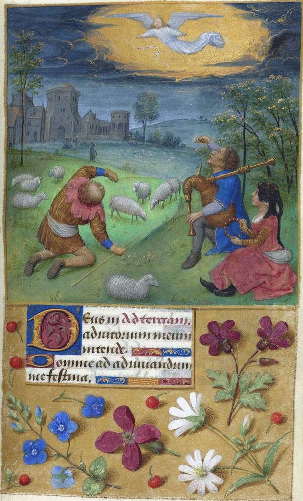 MS M.6 fol. 41 recto, Shepherds: Annunciation., Book of hours, France; Belgium, ca. 1480